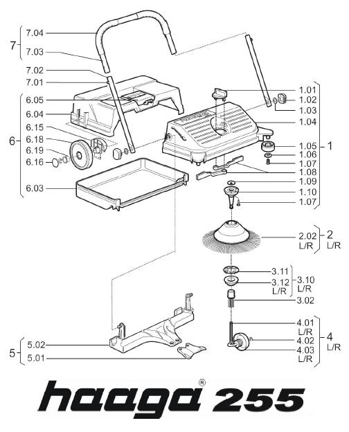 Onderdelen tekening Haaga veegmachine 255