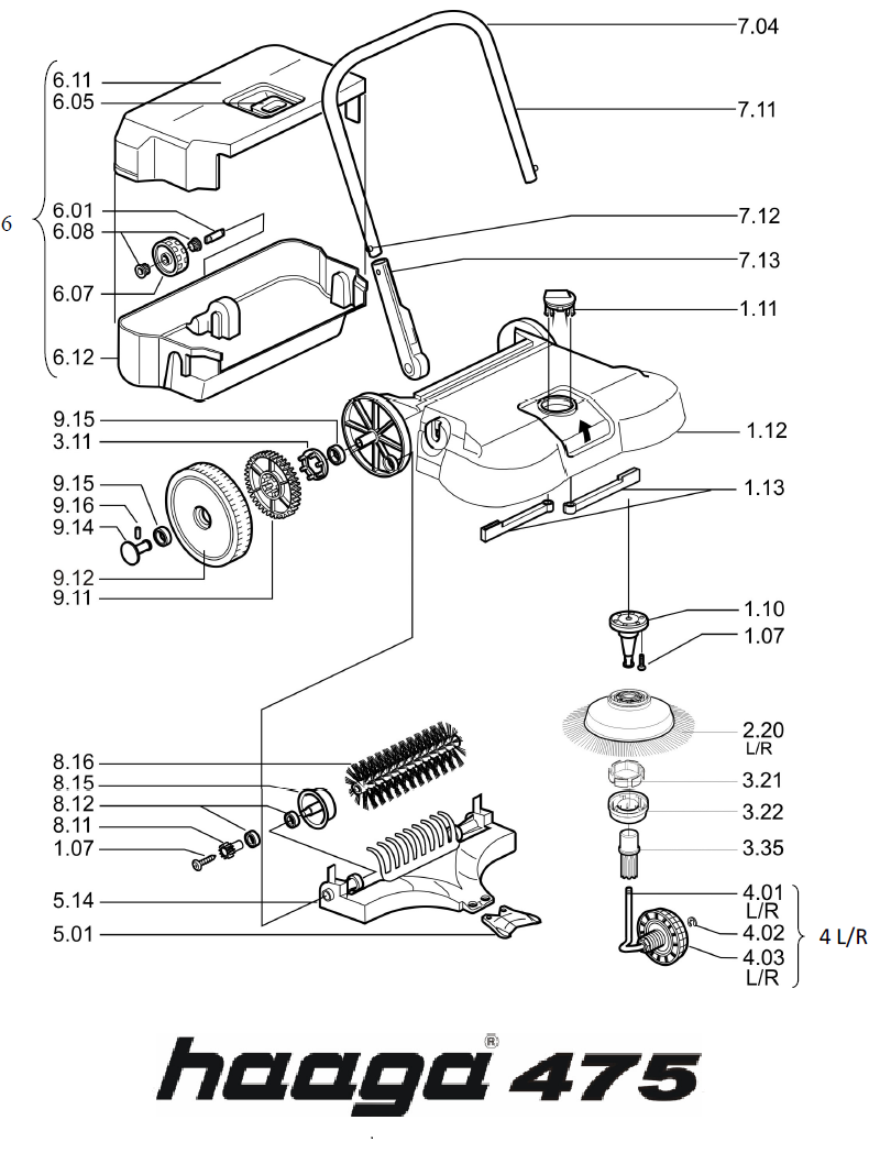 Onderdelen tekening Haaga veegmachine 475