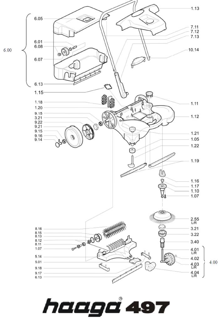Onderdelen tekening Haaga veegmachine 497