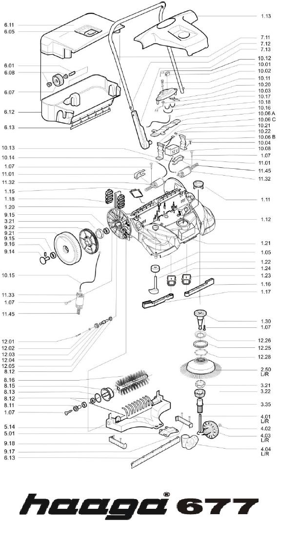 Onderdelen tekening Haaga veegmachine 677