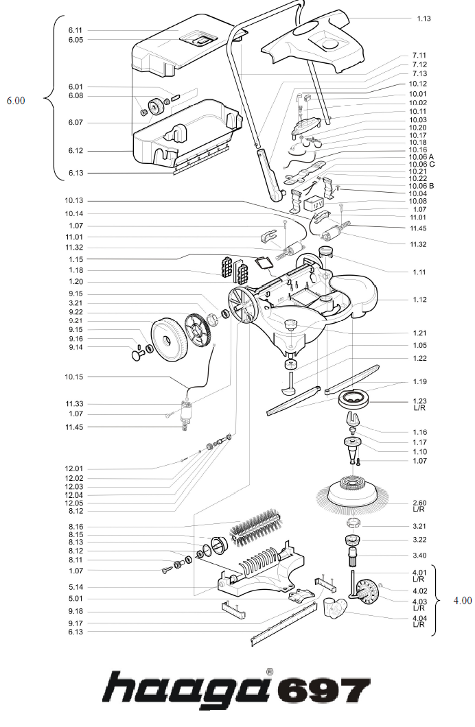 Onderdelen tekening Haaga veegmachine 697